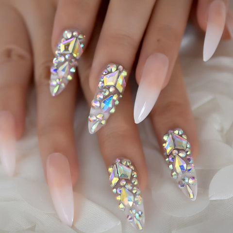 Luxury Fake Nails Designer Extra Long Ombre French Jewelry Pre-designed Nails
