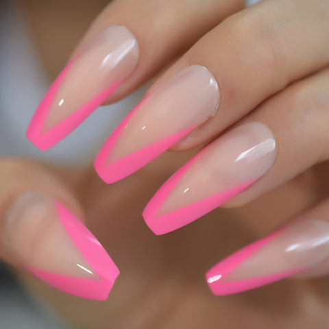 V Shape Nail Extra Long with French Manicure