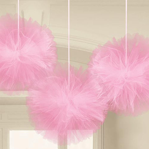 Pink Tulle Fluffy Balls (3)