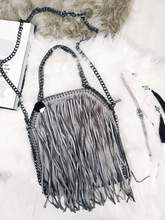 Tassel Tote Bag Grey