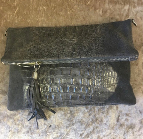 Dark Grey Italian Leather Clutch