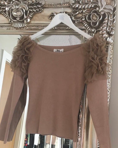 Tan Tulle Sleeved Jumper