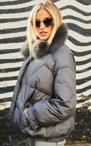 Eva Puffa Coat Grey