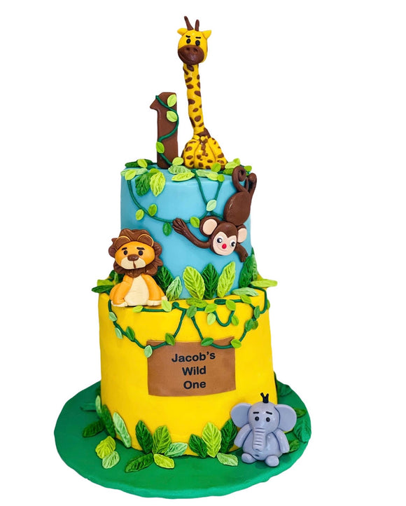 jungle themed birthday cake, cake in LA, jungle desserts, jungle birthday party