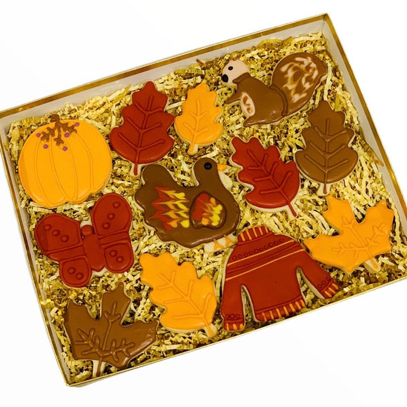 thanksgiving cookie box, cookies, fall cookies