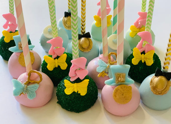 Alice in wonderland cake pops, baby shower cake pops, spring cake pops, cake pops near me 91411