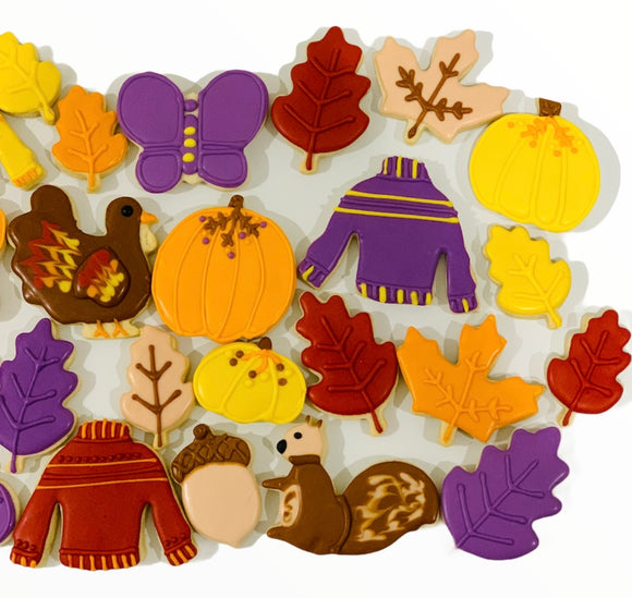 fall sugar cookies, thanksgiving sugar cookies, cookies, leaf sugar cookies.