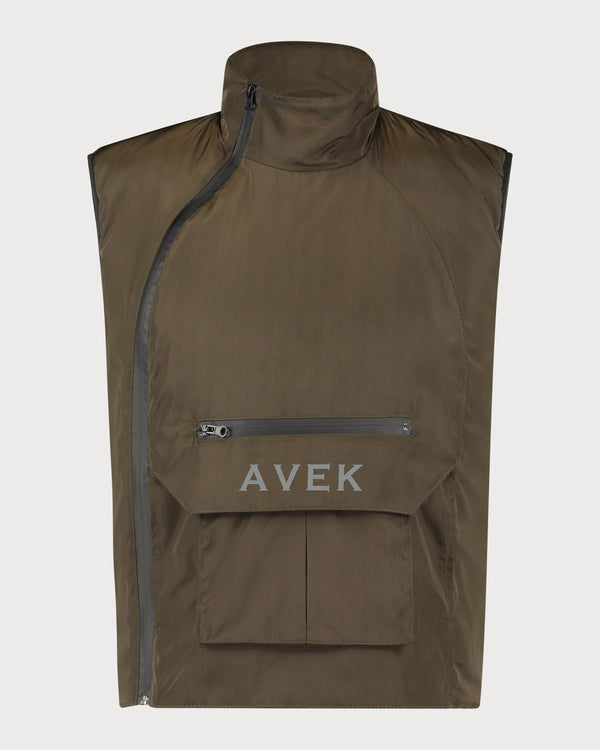 Bodywarmer Slanted Zipper - Olive Green