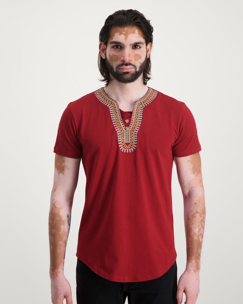 Traditional Embroidered Tee - Bordeaux
