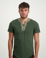 Traditional Embroidered Tee - Olive Green