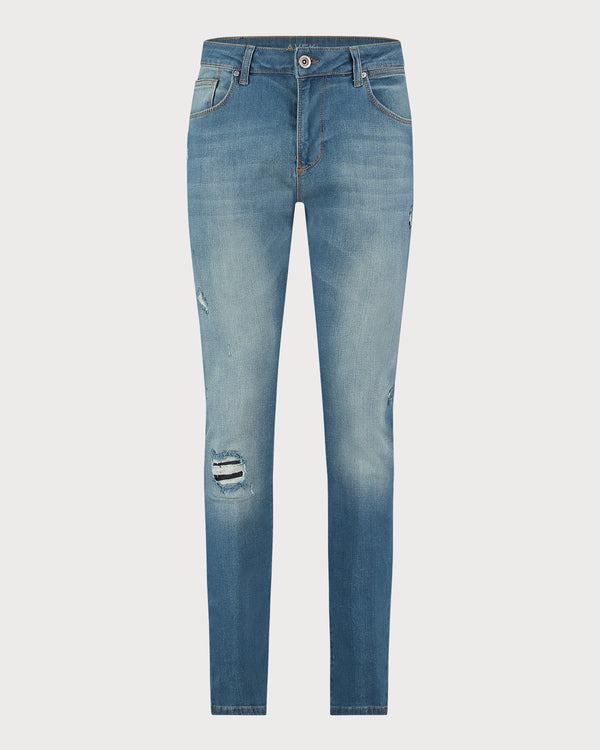Single Ripped Avek Jeans - Stonewash Blue