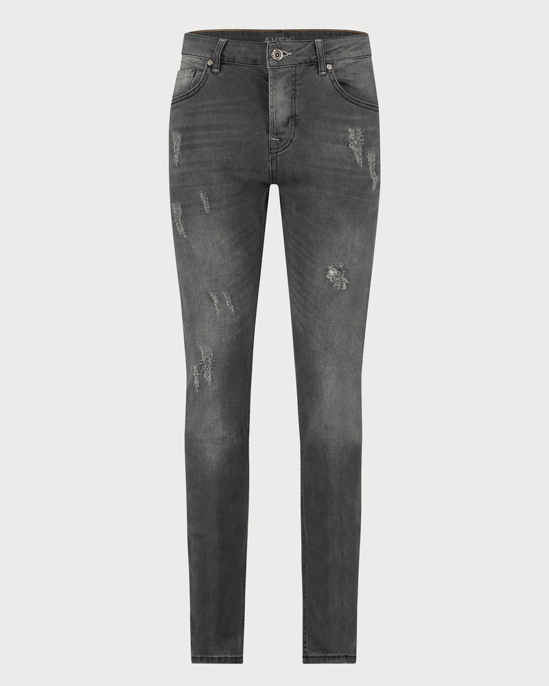 Scuffed Avek Jeans - Dark Grey
