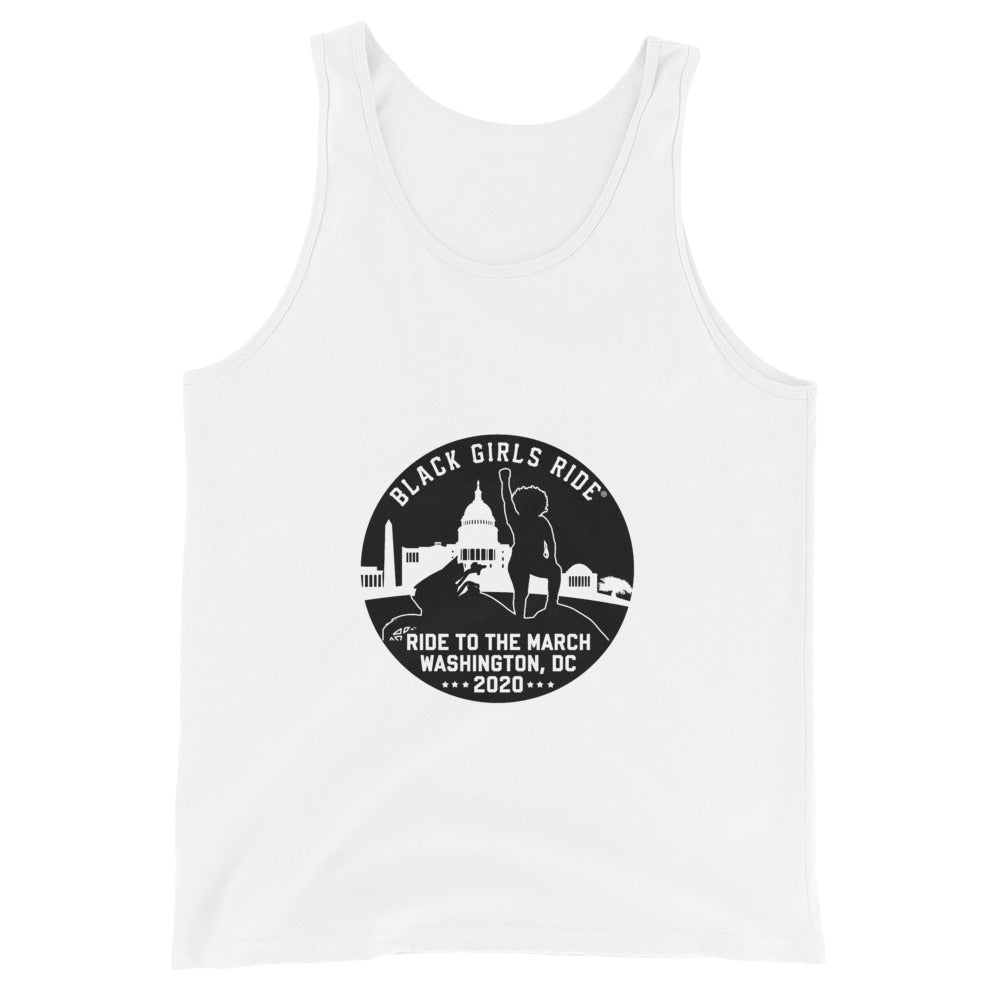 Ride to the March Unisex Tank Top - Black/White