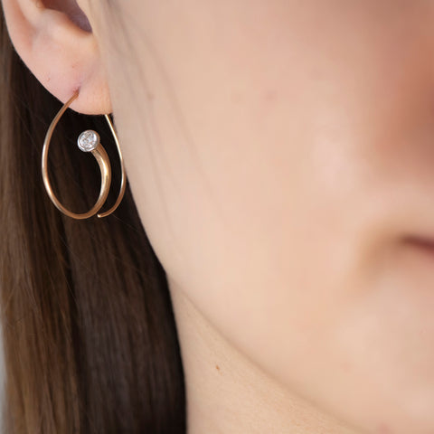 Ayesha Mayadas Inverted Vortex earrings in 18K rose gold with diamonds
