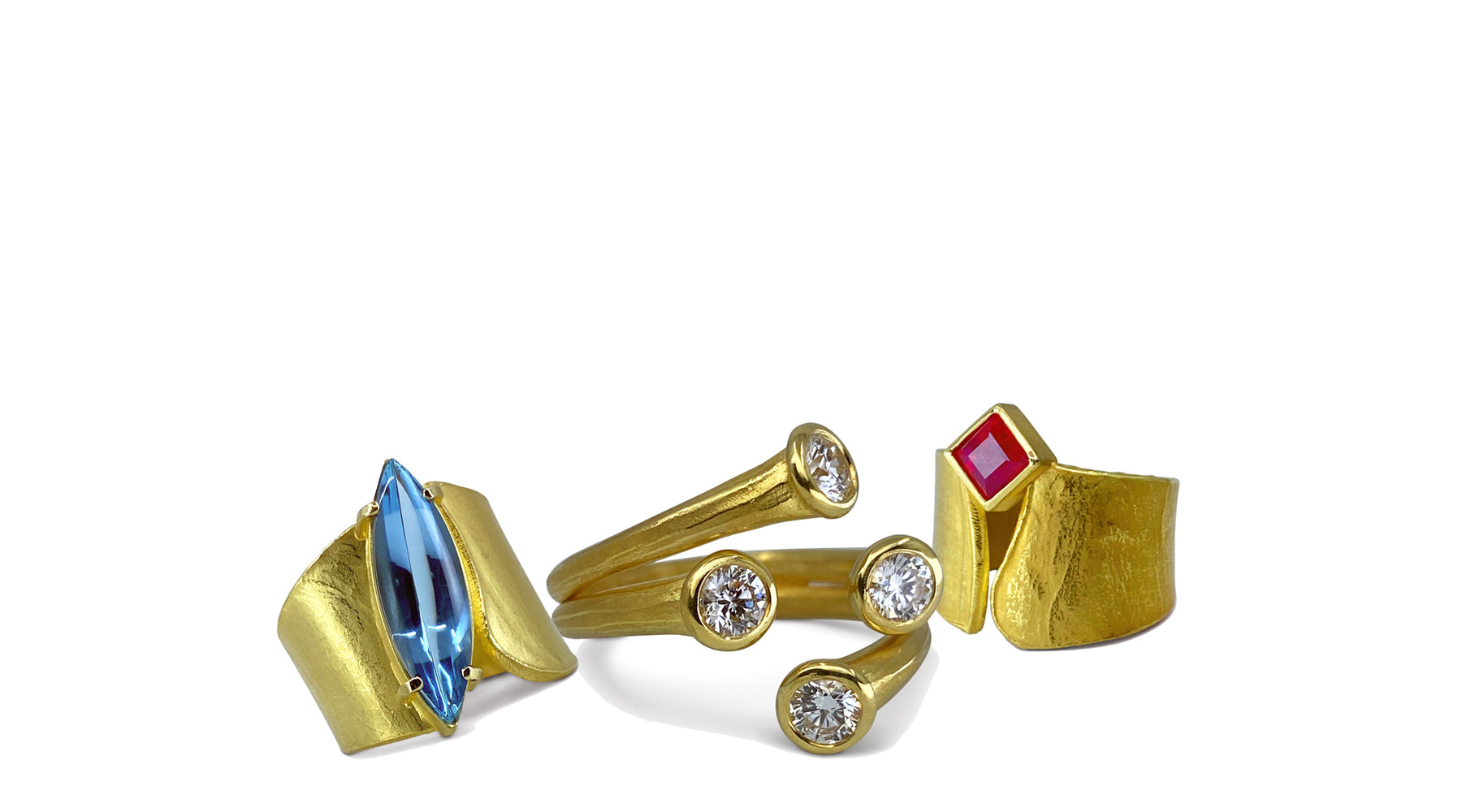 Ayesha Mayadas 18K yellow gold tar cluster ring with diamonds, wafer rings with marquis aquamarine and princess cut ruby