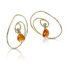 Spiral earrings with dangling diamond and spessarsite garnets