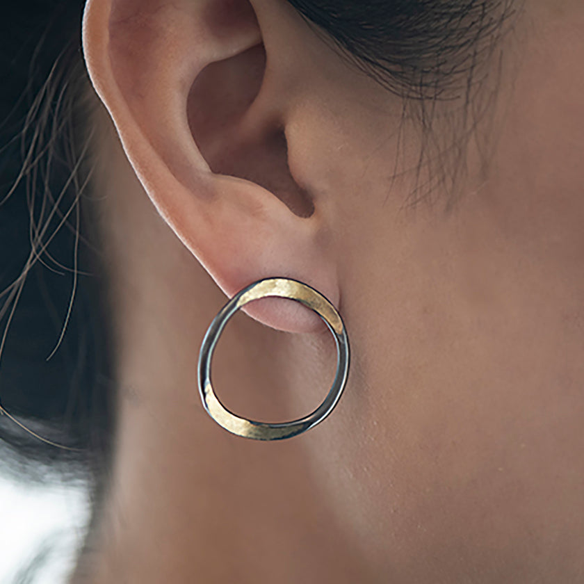 V forged hoops with a splash of gold on sterling silver