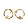 V forged hoops in sterling silver with Vermeil finish and fresh water pearls