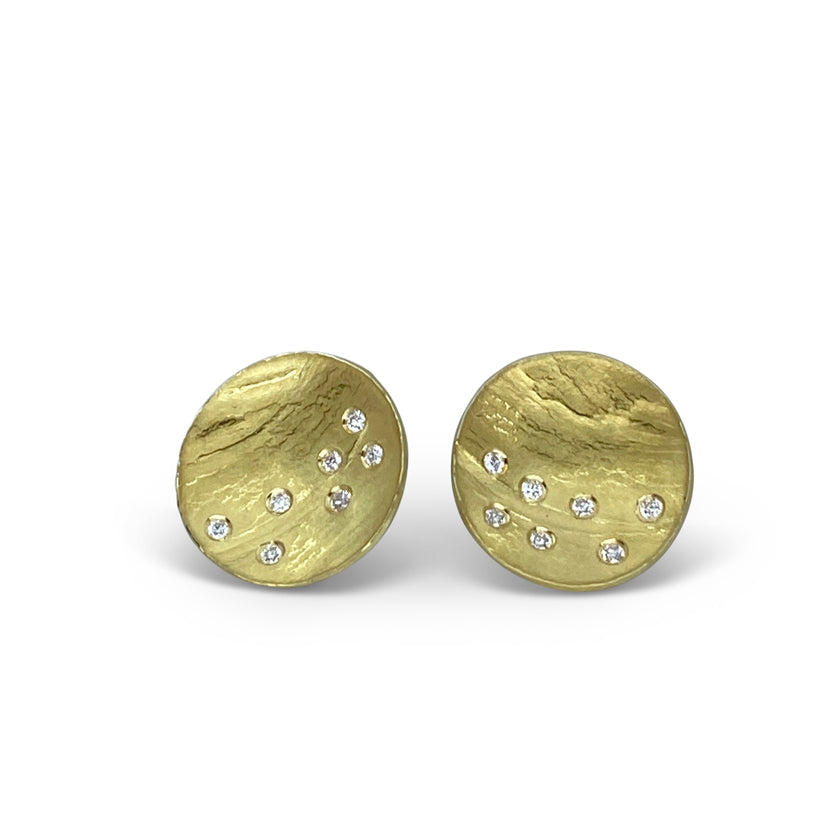Mini Firefly Round Studs in 18KY gold and diamonds