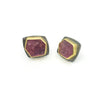 Geometric Sterling Silver 22KT gold Pink Tourmaline earrings