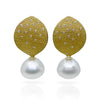 Leaf earrings in 18K gold with removable South Sea white pearl