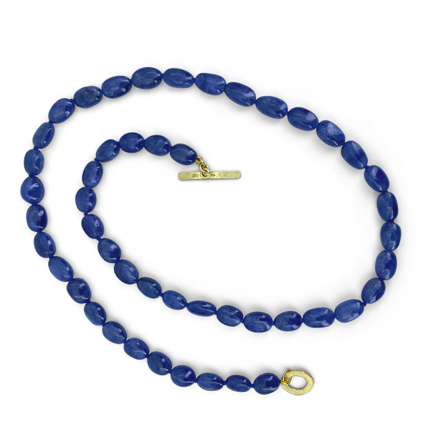 Smooth sapphire beads with 18K yellow gold