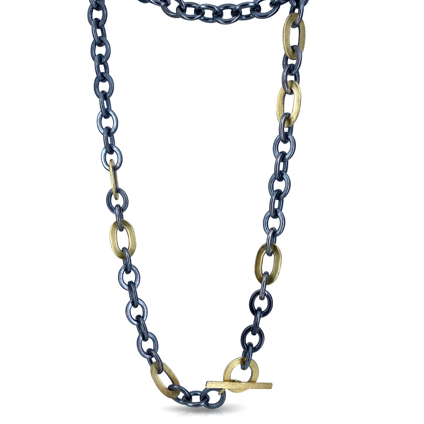 Rugged silver and 18K yellow gold chain