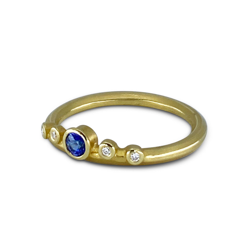 Pebble Band with Diamonds & Center Blue Sapphire