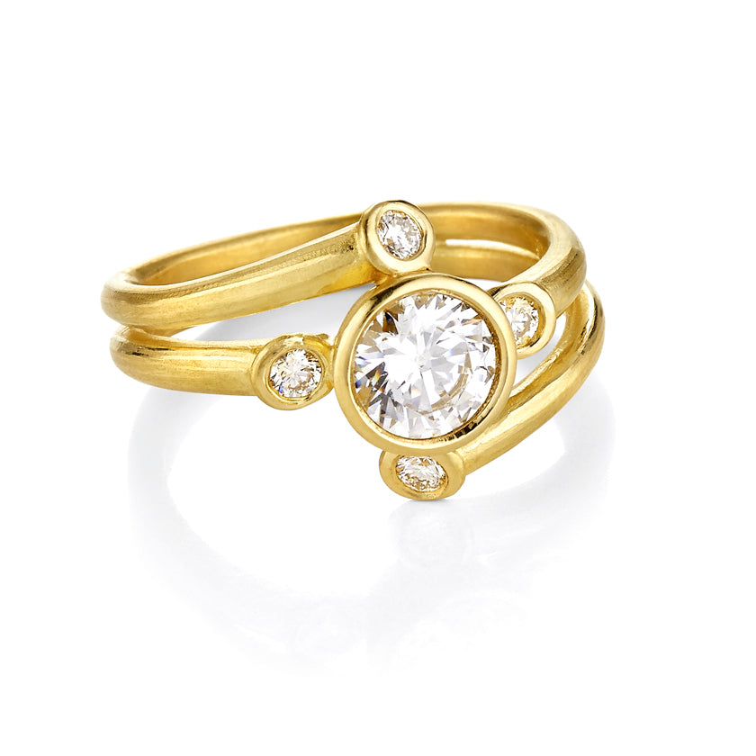 Star Cluster Ring setting  in Gold or Platinum with Center Stone Mounting