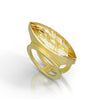 Rutilated quartz ring in 18K yellow gold