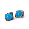 Geometric Sterling Silver 22KT gold Sleeping Beauty Turquoise earrings