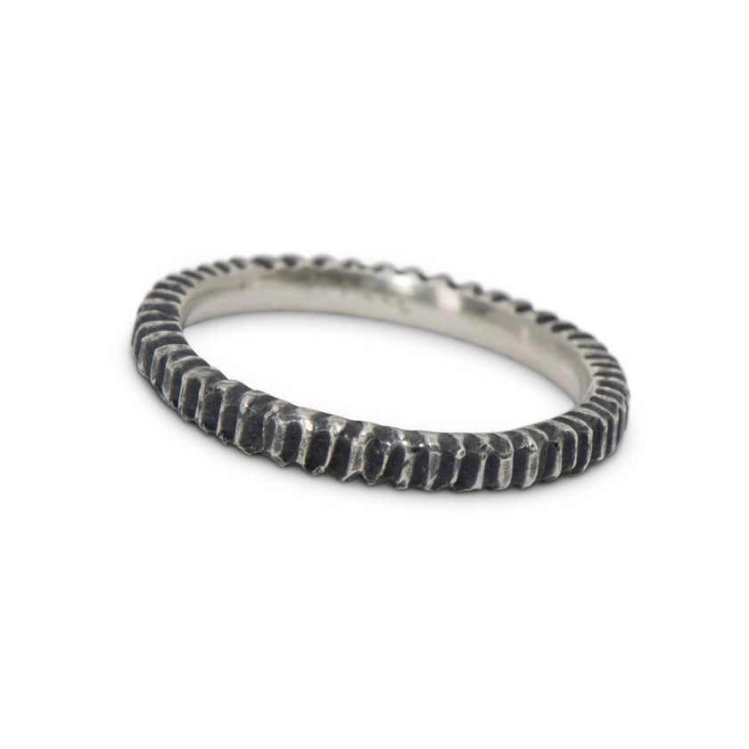 Simple serrated sterling stacking ring