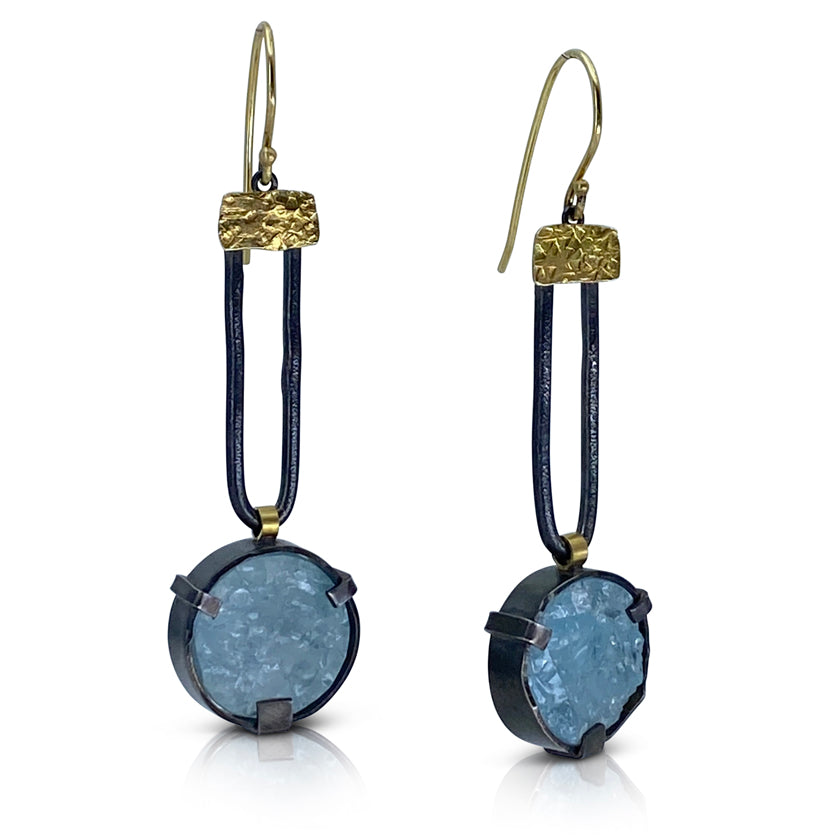 """Natural nuggets"" earrings, 18K yellow gold, sterling silver, rough aquamarine"