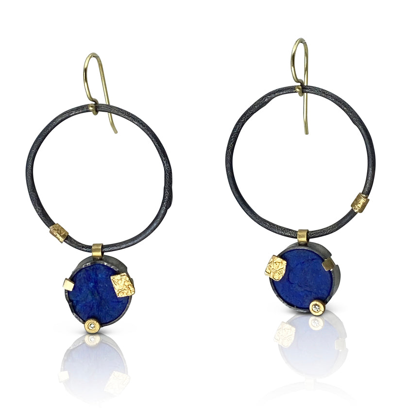 """In Motion"" earrings, 18K gold, sterling silver, lapis lazuli, diamond"