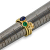 Cabochon emerald stackable ring in 18K yellow gold