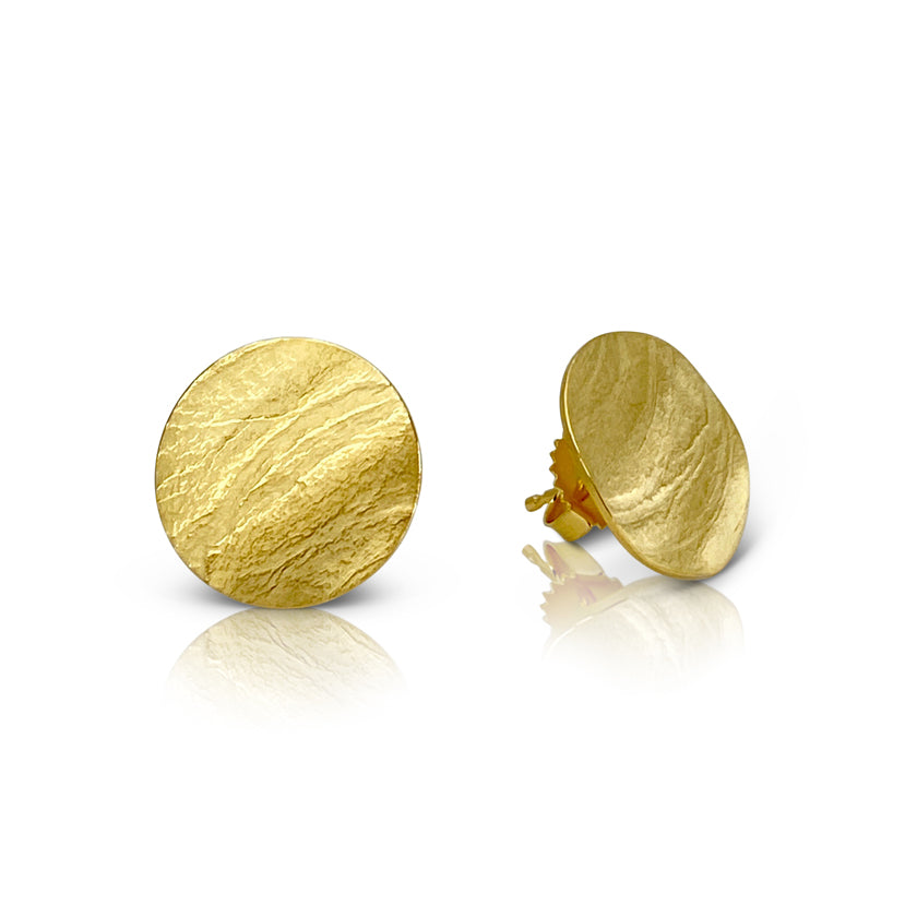 Round wafer earrings in sterling silver with a Vermeil finish
