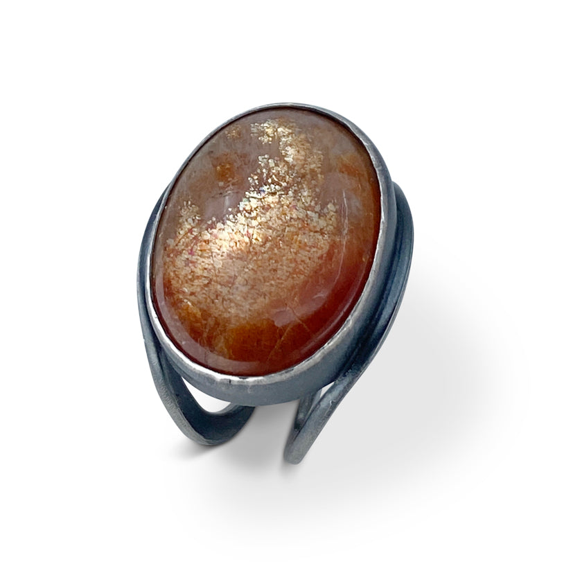 Sunstone and orange sapphire ring in sterling silver