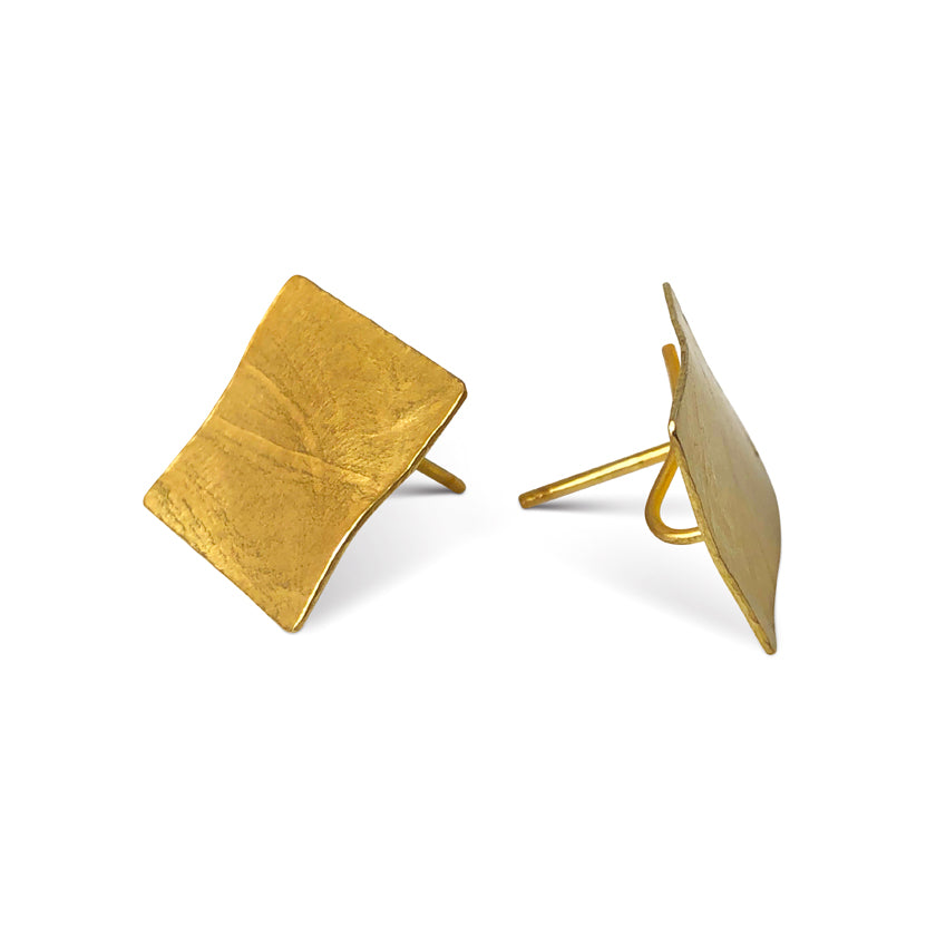 Square wafer earrings in sterling silver with a Vermeil finish