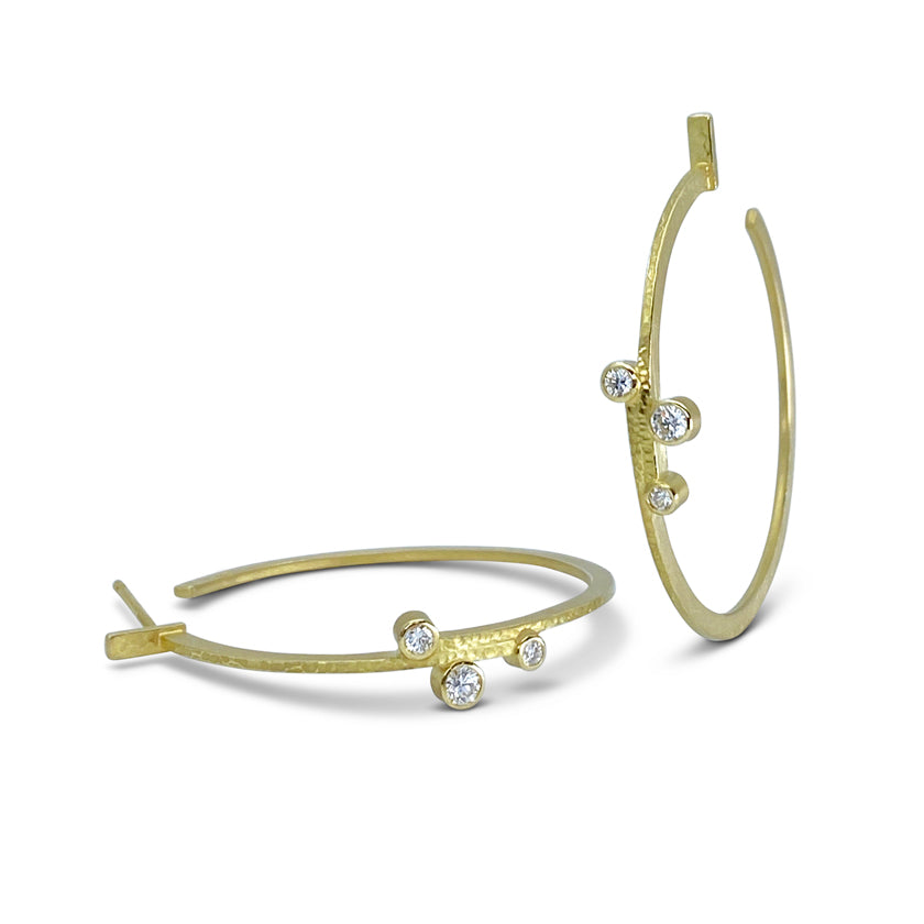 Linear Stepped Hoops in 18K Gold with Diamonds