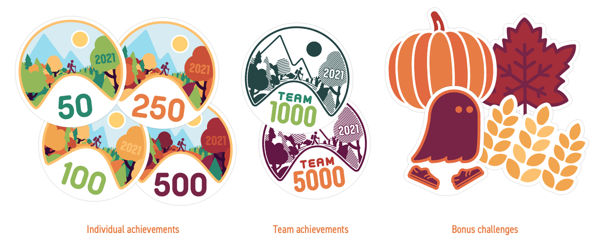 Badges from previous Run Across America events