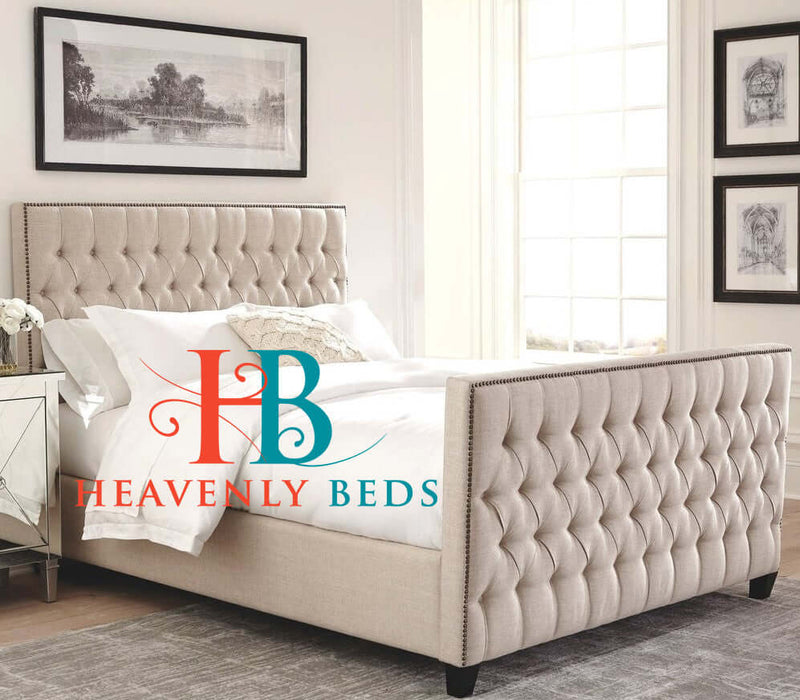 Serena Edge Studded Chesterfield Sleigh Bed Frame