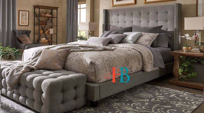 Argentina Wingback Nail Studded Edge Bed Frame