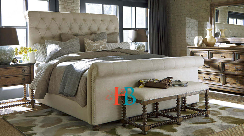 Xavier Luxury Scroll Studded Bed Frame
