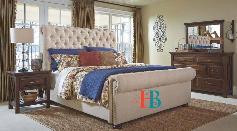 Estonia Spanish Upholstered Sleigh Bed Frame Only at Heavenlybeds