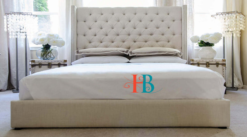 Isla Studded Deluxe Wingback Bed Frame