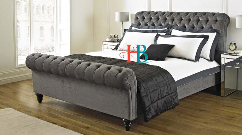 Natalia Chesterfield Scroll Sleigh Bed Frame