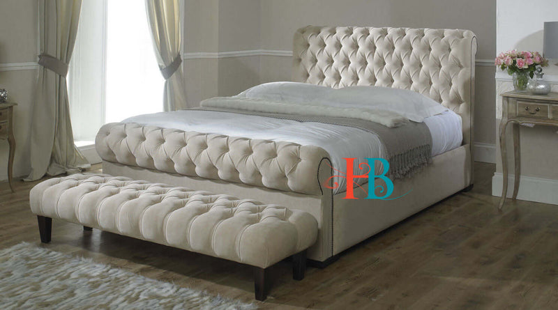 Viviana Spanish Sleigh Bed Frame with Studded Scroll Sides