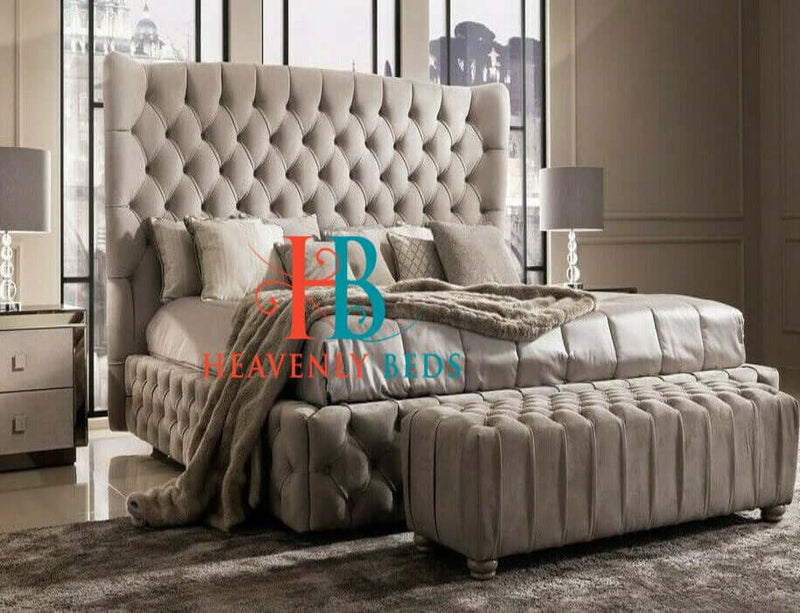 Paris Wingback Bed Frame with Buttoned Sides