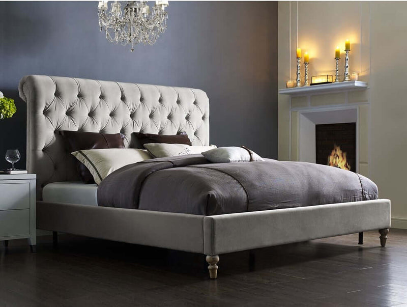 Zoey Upholstered Scroll Sleigh Bed Frame Heavenlybeds Exclusive