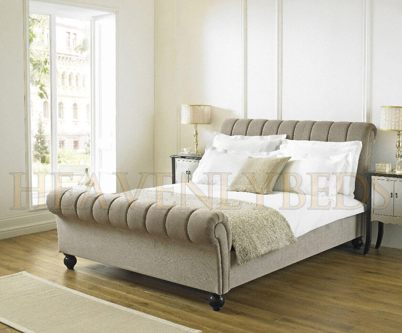 Abella Chesterfield Scroll Sleigh Bed Frame